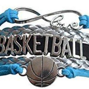 Girls Basketball Bracelet - Blue, Black & Silver